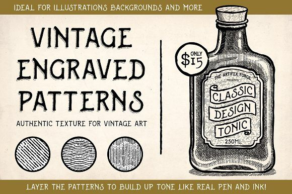 Vintage Engraved Patterns by The Artifex Forge on @creativemarket