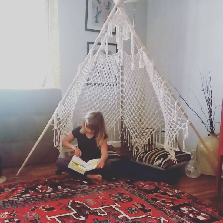 This was my teepee goal. The perfect reading nook. . . . #macrame #macrameteepee #teepee #kilimpillows #shagrug #bohostyle #readingnook #cozy #bohemian #bohohome #fiberart #rentable #aplaceinmyhome #reading #momgoals #goodvibes #happysunday #macramebykari