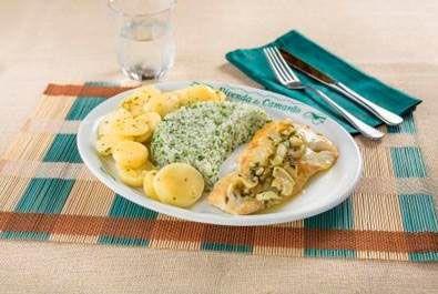 Bacalhau com Molho Meuniére com Arroz com Brócolis e Batata Sautée