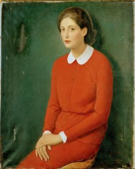 """""""Portrait of a Young Woman in a Red Dress"""". Painting, 1931, by Imre Goth (1893–1982) Oil on canvas, 101.6 × 78.7cm."""