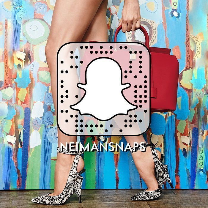 "We're now on Snapchat! Follow us to Fashion Week and beyond by adding us at neimansnaps. Just follow these steps: 1. Take a screenshot of this photo 2. Open your Snapchat app and click ""Add Friends"" 3. Select ""Add by Snapcode"" and upload this image."