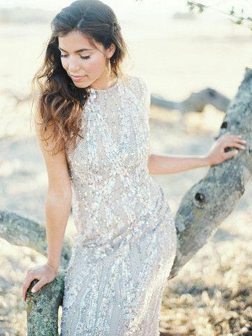 Elie Saab Light Taupe Fully Sequined Wedding Dress - Nearly Newlywed Wedding Dress Shop