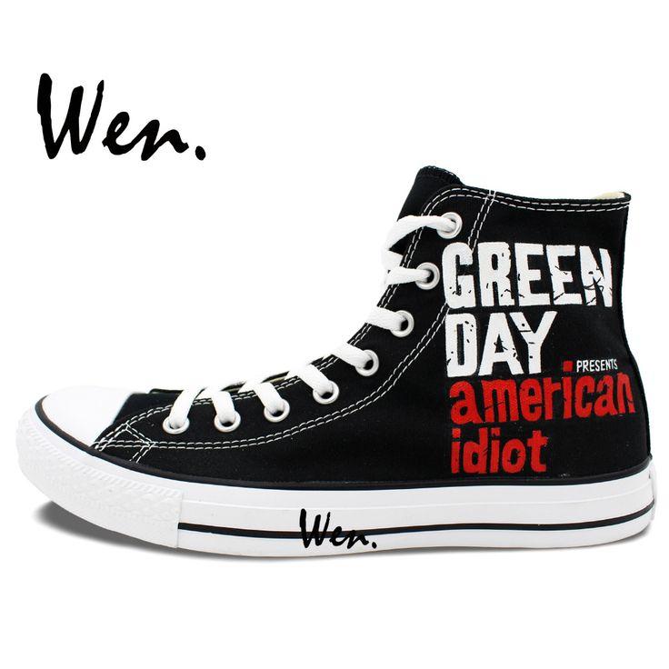 Персонализированные подарки черный окрашенные парусиновые туфли зеленый день группа американский идиот ручная роспись арт вэнь мужчина женщина кеды купить на AliExpress