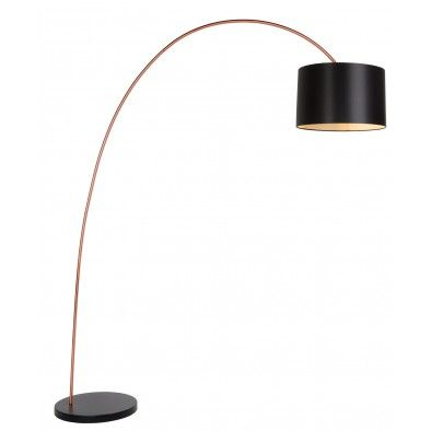 Lucide Vloerlamp Booglamp Paxi Zwart - Koper kleur