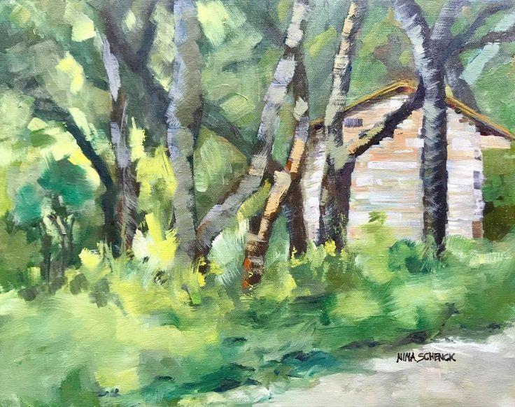 Swedish Log Cabin in Zilker Park Botanical Gardens Austin Texas Original Art #Impressionism