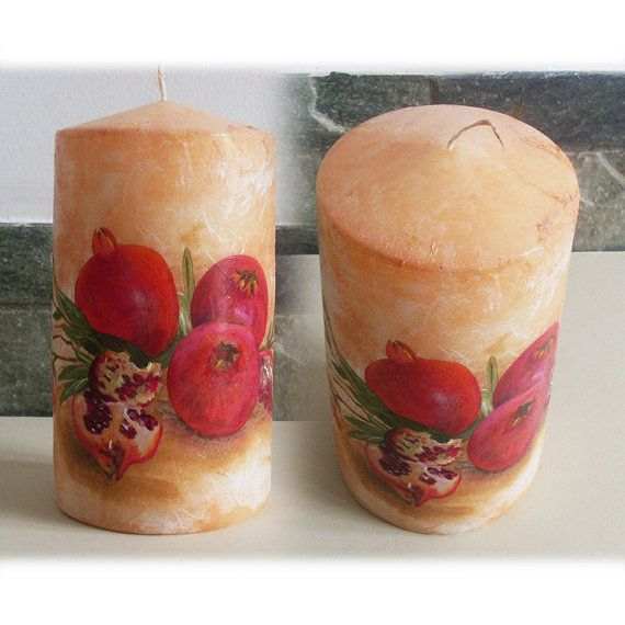 Candle  POMEGRANATES by allabouthandicraft on Etsy