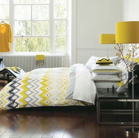 Grey and yellow bedroom. . Lovely
