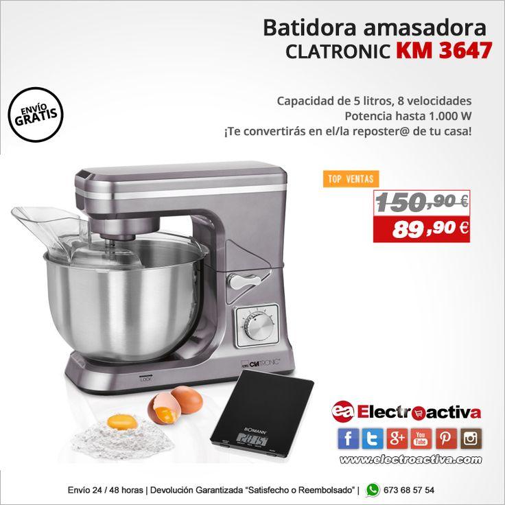 ¡Te convertirás en el/la reposter@ de tu casa! Batidora Amasadora CLATRONIC KM 3647https://www.electroactiva.com/clatronic-km-3647-batidora-amasadora-barata-titanio-reposteria.html #Elmejorprecio #Batidora #Amasadora #Cocina #Electrodomestico #Reposteria
