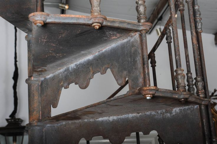 An Antique Industrial Cast Iron Spiral Staircase
