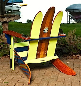 Perfect Vintage Cypress Gardens Water Ski Adirondack Chair...back View.