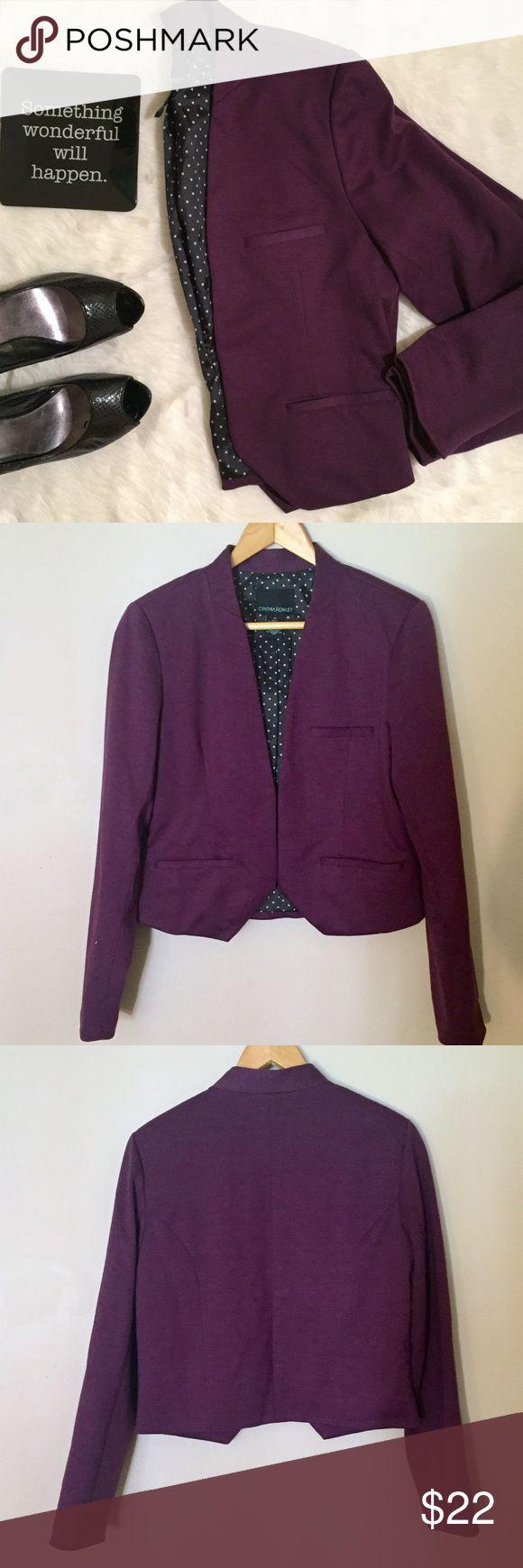 "Cynthia Rowley Open Blazer Purple blazer from Cynthia Rowley, open style - no front closure, has pockets. Black and white Polka Dot lining. 17.5"" across bust, 19.5"" length. EUC Cynthia Rowley Jackets & Coats Blazers"