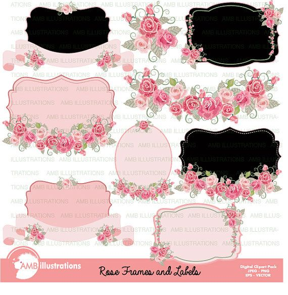 80OFF Floral Frames And Tags Clipart Wedding Shabby Chic