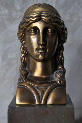 NEOCLASSICAL-DECO-GODDESS-BUST-GREEK-ROMAN-GILT-RELIEF-FIGURAL-ORMOLU-NOUVEAU