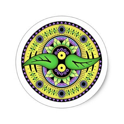 Simple Mandala 2 Classic Round Sticker - diy cyo customize create your own personalize