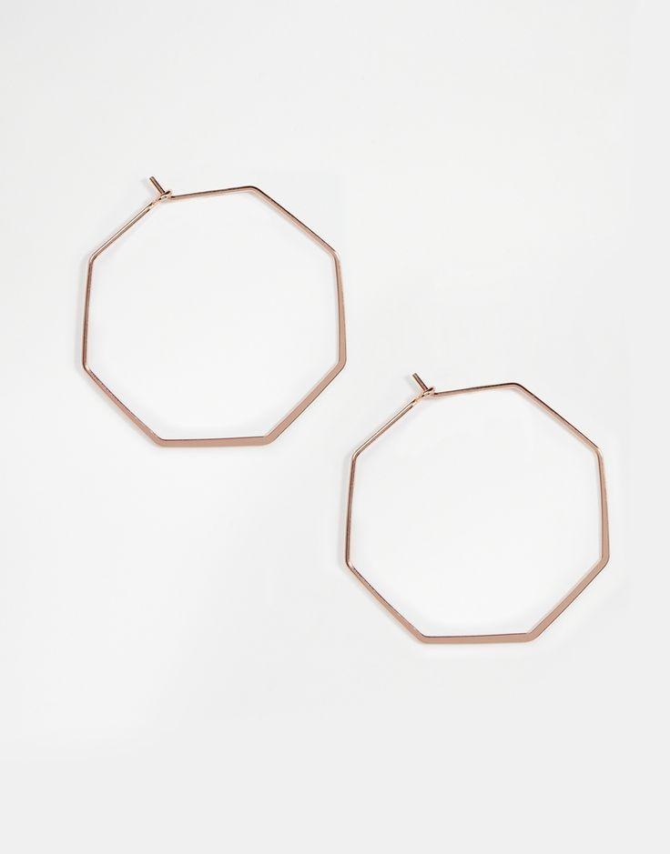 Image 1 ofASOS 45mm Fine Hexagon Hoop Earrings