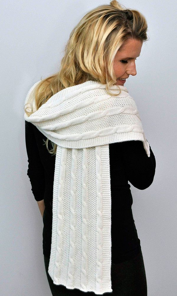 Cable Scarf Cream – Stylish Cable Scarf with beautiful drape.  Gorgeous for any occasion. 100% undyed alpaca made in New Zealand