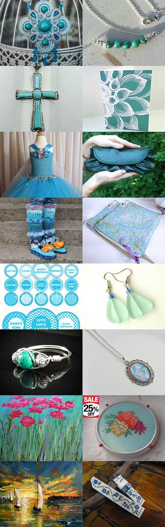 Teal and Turquoise by Susan Wilde on Etsy--Pinned+with+TreasuryPin.com