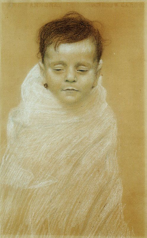 Gustav Klimt - Portrait of the Artist's Dead Son #portrait #classic #art