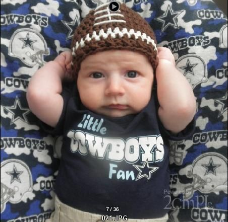 He needs a Bronco shirt & blanket to go with that hat! Love the hat!
