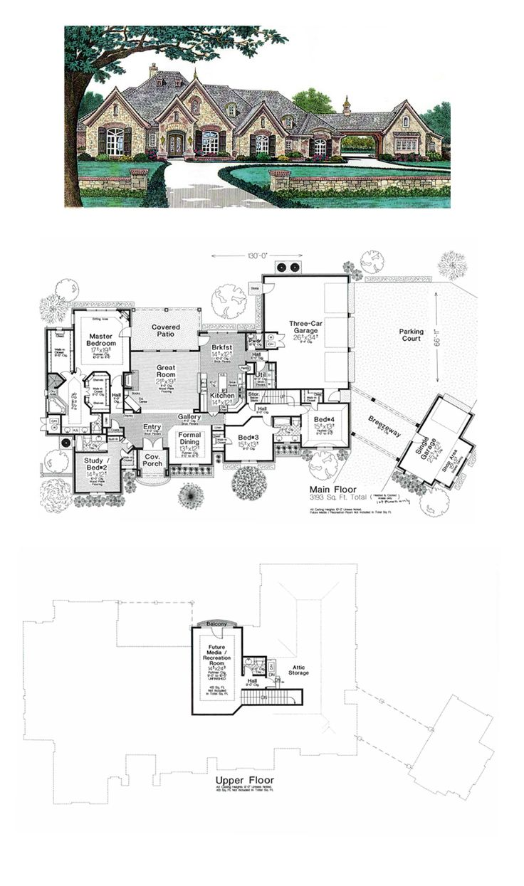 European House Plan 66248 | Total Living Area: 3193 sq. ft., 4 bedrooms and 3.2 bathrooms. #europeanhome