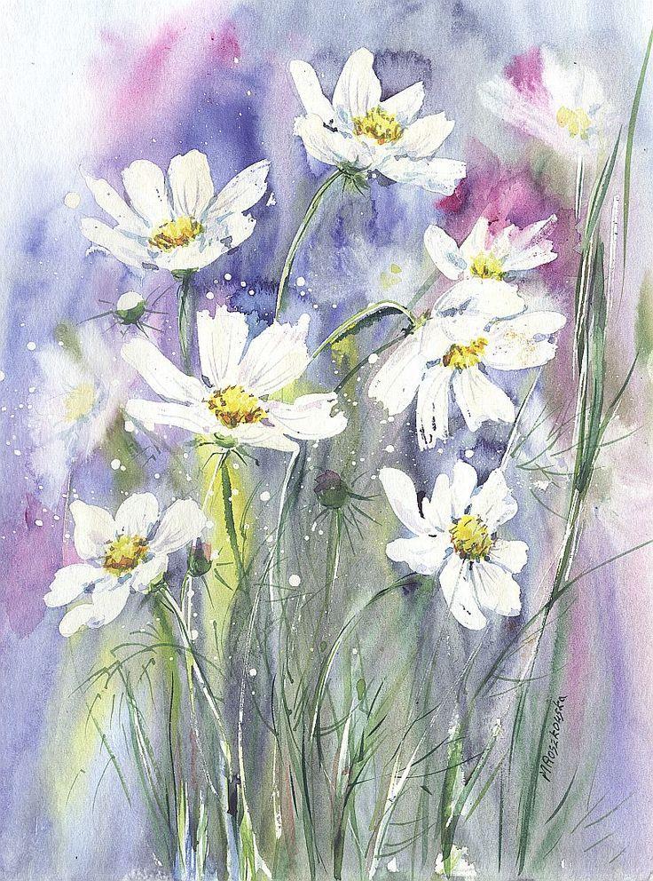 Kosmosy w ogrodzie -- Maria Roszkowska WATERCOLOUR