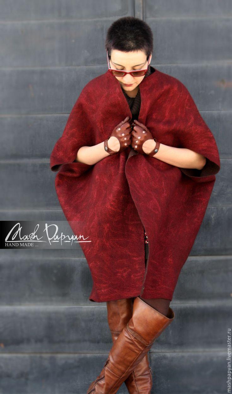 """Купить Валяное двухстороннее пальто """"Вишня и шоколад"""" - комбинированный, однотонный, пальто валяное, валяное пальто"""