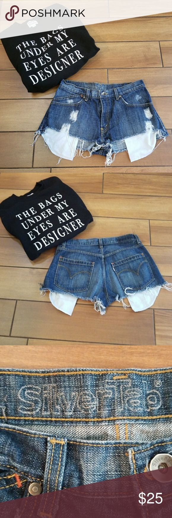 Distressed Levi denim shorts Zip up , super cute for summer , can be dressed up or down, silver tab size w 32 , sweatshirt not for sale Levi's Shorts Jean Shorts