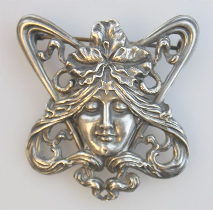 UNGER BROTHERS STERLING SILVER FIGURAL ART NOUVEAU WOMAN BROOCH PIN ANTIQUE