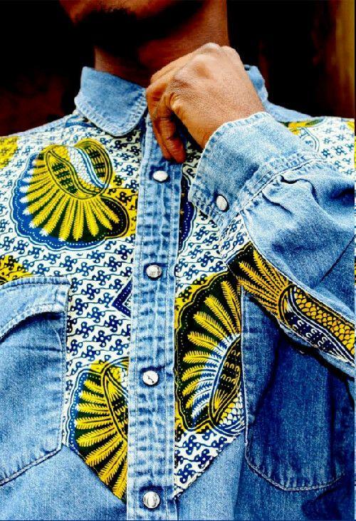 studioinn:    Bukki Label Denim shirt with African Fabric Detailing Zippertravel.com Digital Edition