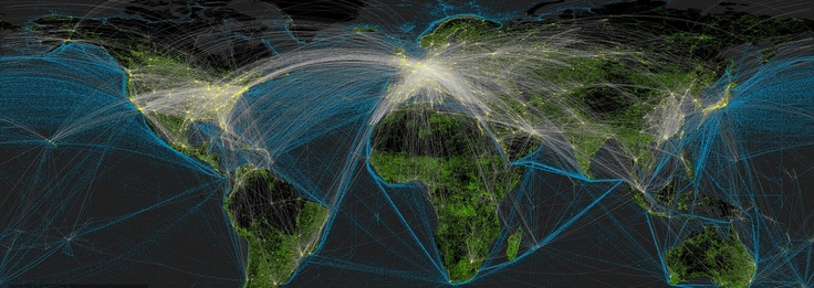 Impact of Humans on the Earth (cities are yellow, roads are green, shipping routes are blue and air routes are white) (Globalia): Transportation Network, Maps, Blue, Cities, Transportation System, Global Transportation, Massiv Impact, Roads, Given Visual