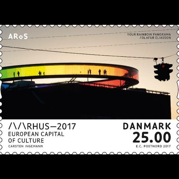 #arosrainbow - nu også som frimærke. I anledning af @aarhus_2017 har Post Nord trykt frimærker af Aarhus' kendetegn, og så er der jo - i al beskedenhed - ingen vej uden om Your Rainbow Panorama #olafureliasson #aarhus2017 #aarhus #arosart #rainbow #colourful #stamps @danskefrimaerker