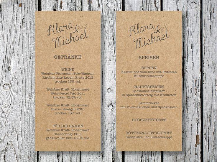 Mit dieser Menükarte könnt Ihr Euren Gästen einen schönen Überblick über Euer Hochzeitsmenü geben.