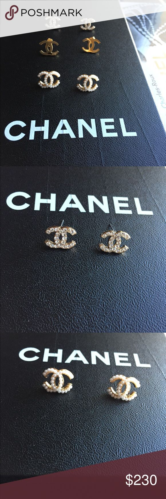 Earrings ❌ Bundle Deal Alert❌.  Price is for all 3 pair. Will not be able to separate.  If purchased tonight they will go out in the morning. Post office run in morning sell on other sites multiple orders ready for shipping. CHANEL Accessories Hair Accessories