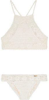 Neckholder-Bikini aus gehäkelter Baumwolle