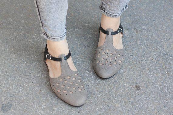 Grijs lederen sandalen, lederen Flats, Grey knipsel lederen sandalen, schoenen van de zomer, gratis verzending