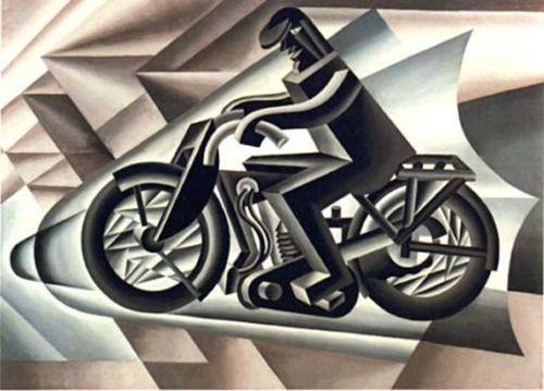 """22. El movimiento artístico que sustituyó al Modernismo fue el Futurismo, que surgió en Italia a principios del siglo XX.Este nuevo movimiento se basó principalmente en el maquinismo y en el movimiento. Exaltaba lo nacional y lo guerrero; trataba de transmitir la velocidad y el dinamismo de las cosas; apostó por el progreso y renovó el uso de las palabras, disponiéndolas en total libertad y sin ningún orden determinado. (""""Il Motociclista"""", de 1923 de Fortunato Depero)"""