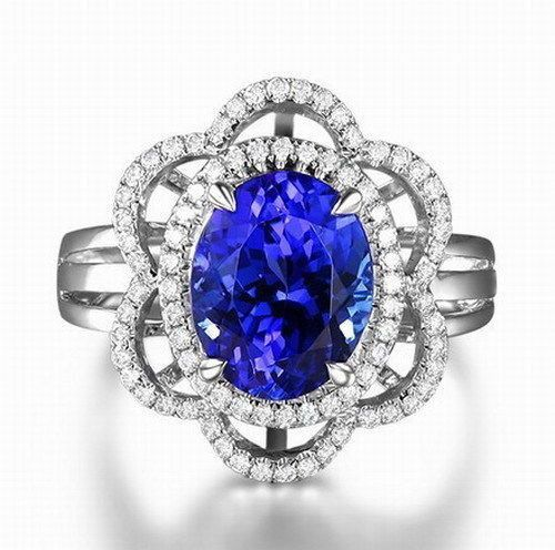 Catawiki online auction house:  18 Kt White Gold Ring with 2.60 Carats of Natural Blue Tanzanite and 54 Brilliant Diamonds - EGL & JGL Certificates of Quality - No Reserve