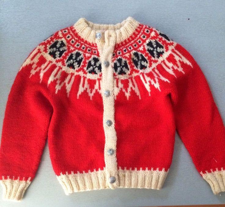 Children Nordic Handknit Cardigan Sweater made in Denmark Size medium #Handmade #Cardigan