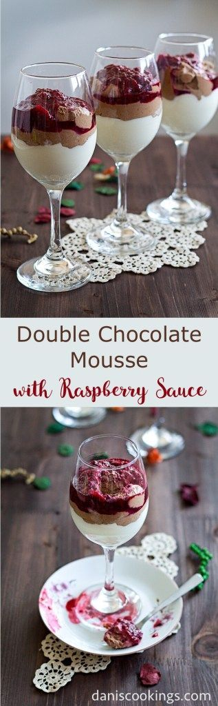 Easy and delicious Double Chocolate Mousse with Raspberry sauce | Dani's Cookings