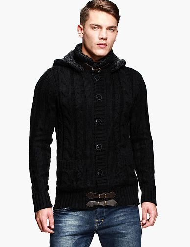 Fashion Hooded Cardigan with PU Trim-cool men, modern cardigan, men's cardigan, men's fashion