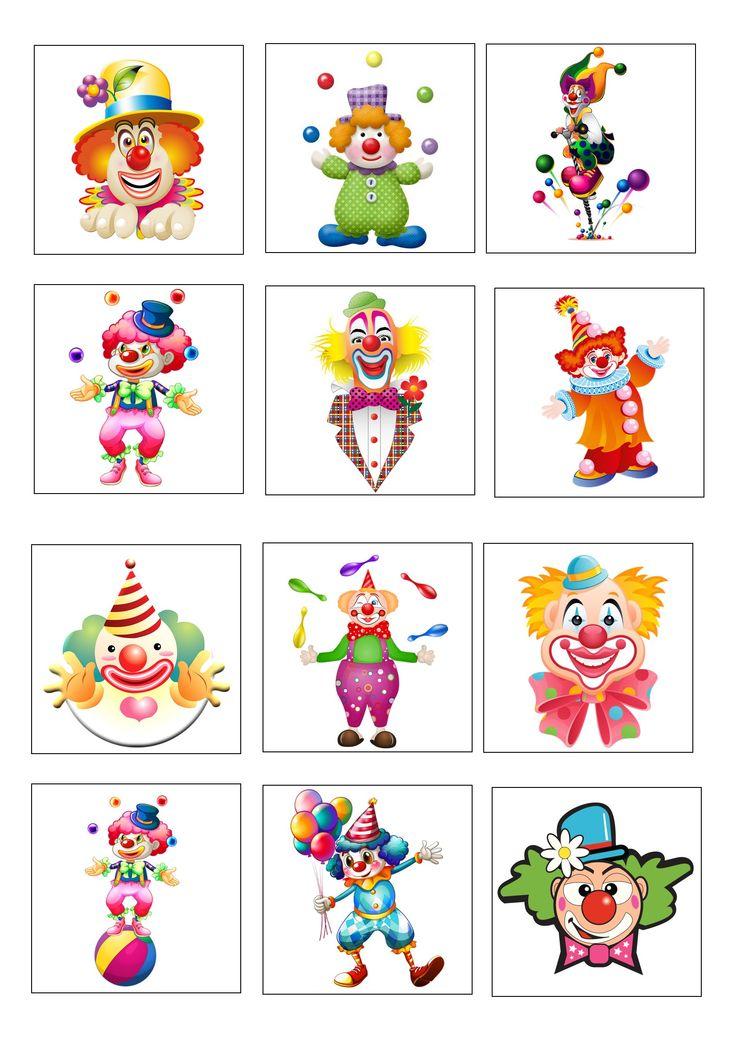 Loto des clowns planche 1 à imprimer 2 fois