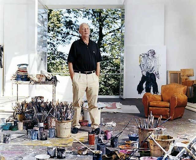 """""""All German painters have a neurosis with Germany's past: war, the postwar period most of all, East Germany. I addressed all of this in a deep depression and under great pressure. My paintings are battles, if you will."""" - Georg Baselitz"""