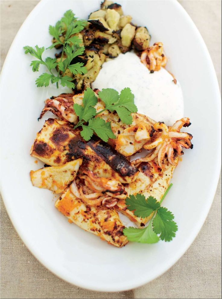 Barbecued chilli squid and aubergine with ginger and coriander yoghurt by Nathan Outlaw | Cooked