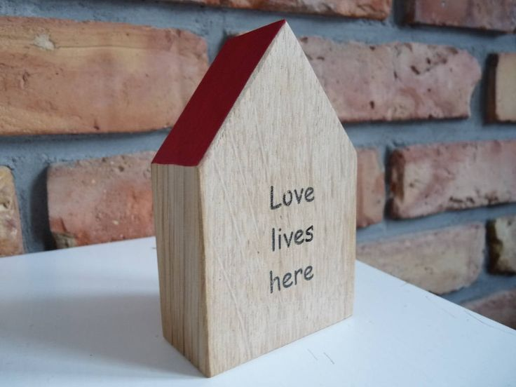 Love lives here wooden house, Small handmade wood home,  Keepsake Word Houses,  Instant little neighborhood, little handmade houses, message by nkcraftstudio on Etsy
