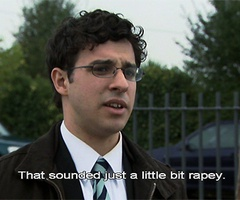 """That sounded just a little bit rapey"" The Inbetweeners are great"