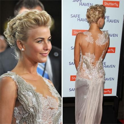 Julianne Hough knows how to rock a beautiful short-hair updo. First, curl your hair. Then, loosely pin the curls off your face without damaging the ringlets. Voila! #shorthair #updos