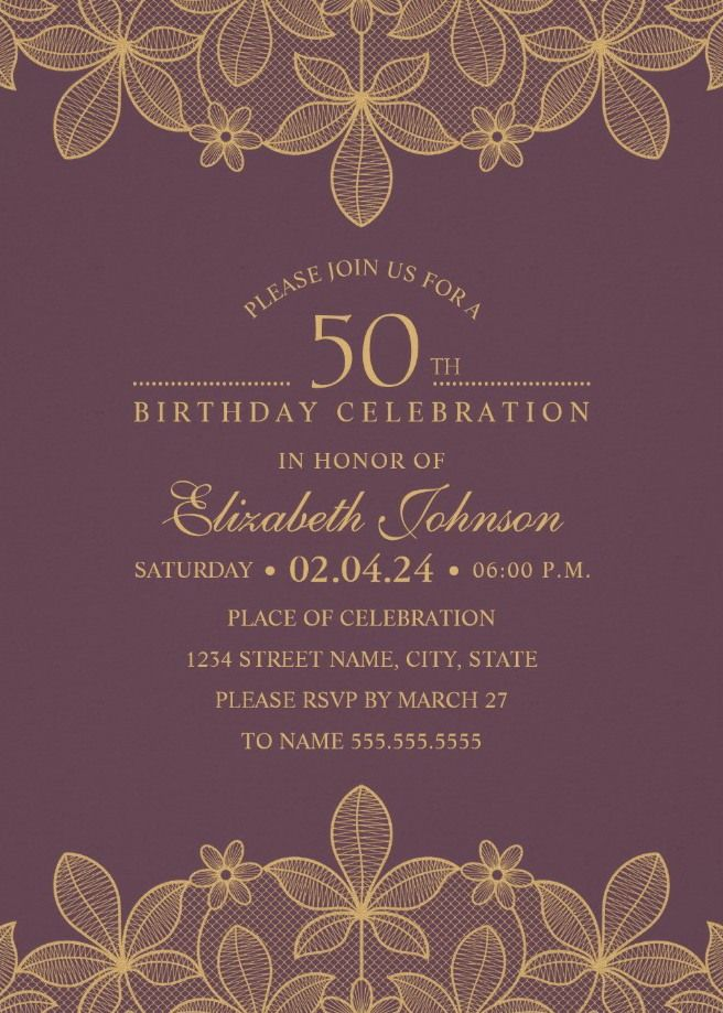 Golden Lace Wine Red 50th Birthday Invitations