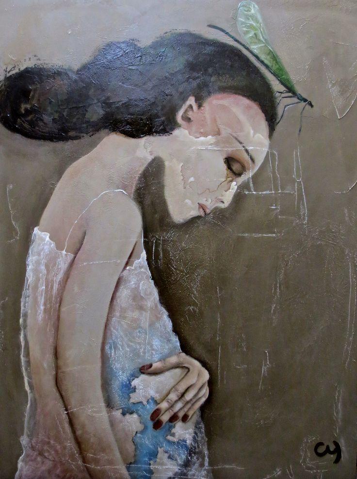Mère du monde par Christyne Proulx ©2016 Technique mixte sur bois /30X40/ figurative and contemporary art/ acrylique, art painting,  Street Art (Urban Art), Canvas, Women, Portraits,  femme,  street art, patchwork, peinture, contemporain, abstrait, tableau street art,