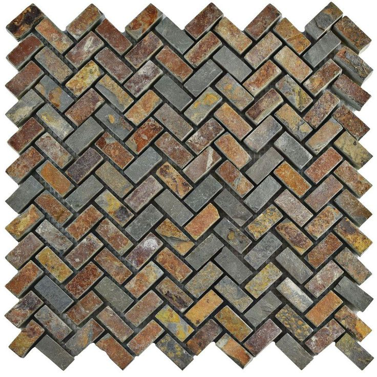 Merola Tile Crag Herringbone Sunset Slate 12 in. x 12 in. x 10 mm Natural Stone Mosaic Tile, Multicolored Brown And Grey/Low Sheen