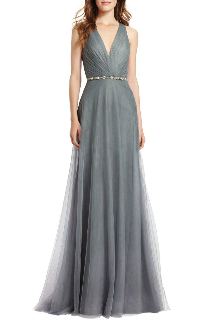 Monique Lhuillier Bridesmaids Back Cutout Pleat Tulle Gown | Nordstrom